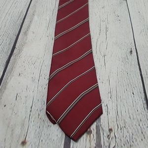Vintage Christian Dior Red Striped Tie Maroon